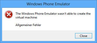 windows phone emulator generic failure