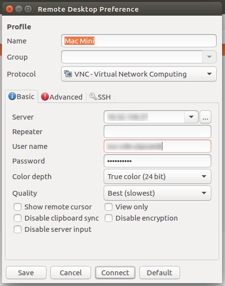 crusy net » VNC mit Remmina zu macOS Mojave